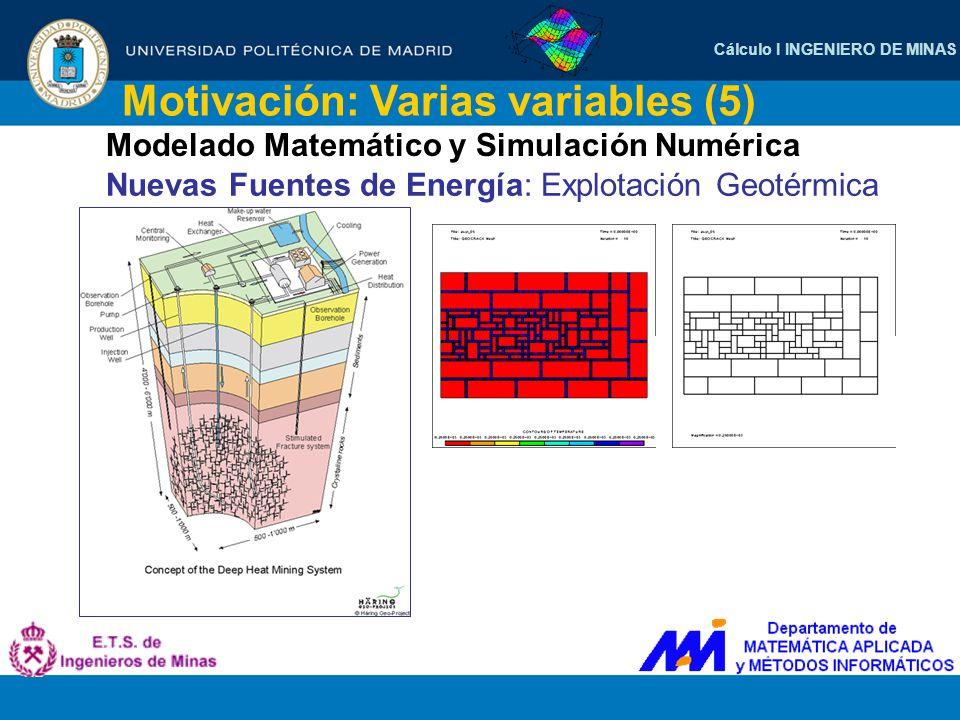 Cálculo I INGENIERO DE MINAS Motivación: Varias variables (5) Modelado Matemático y Simulación Numérica Nuevas Fuentes de Energía: Explotación Geotérm