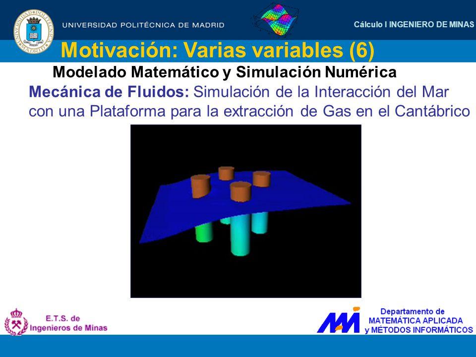 Cálculo I INGENIERO DE MINAS Motivación: Varias variables (6) Modelado Matemático y Simulación Numérica Mecánica de Fluidos: Simulación de la Interacc