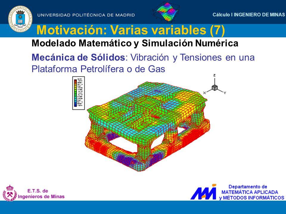 Cálculo I INGENIERO DE MINAS Motivación: Varias variables (7) Modelado Matemático y Simulación Numérica Mecánica de Sólidos: Vibración y Tensiones en