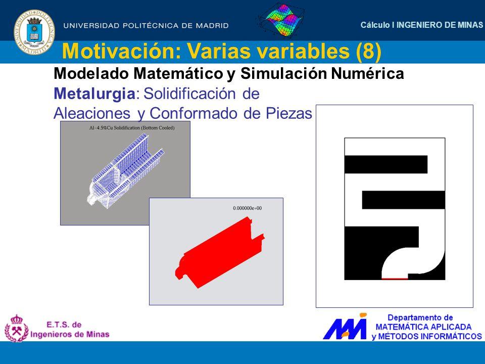 Cálculo I INGENIERO DE MINAS Motivación: Varias variables (8) Modelado Matemático y Simulación Numérica Metalurgia: Solidificación de Aleaciones y Con