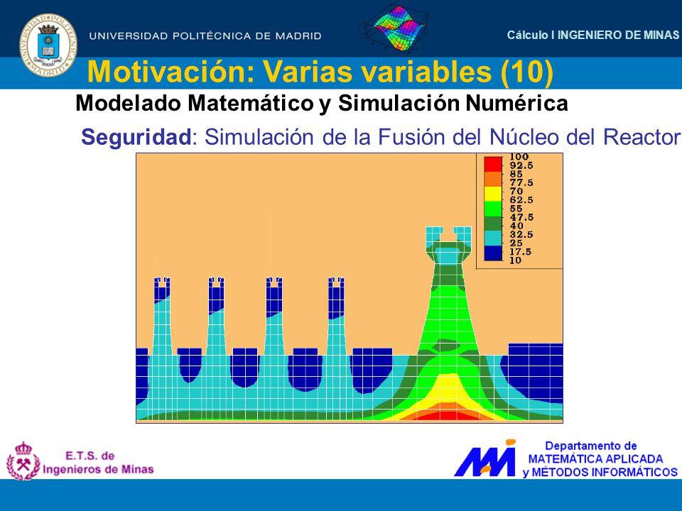 Cálculo I INGENIERO DE MINAS Motivación: Varias variables (10) Modelado Matemático y Simulación Numérica Seguridad: Simulación de la Fusión del Núcleo