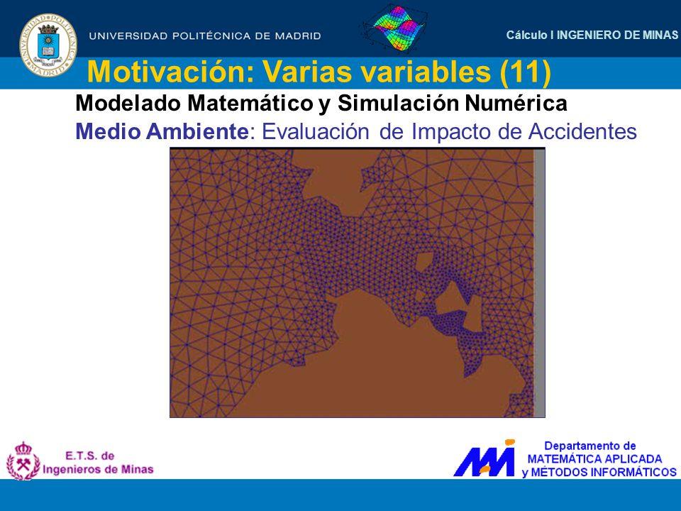 Cálculo I INGENIERO DE MINAS Motivación: Varias variables (11) Modelado Matemático y Simulación Numérica Medio Ambiente: Evaluación de Impacto de Acci