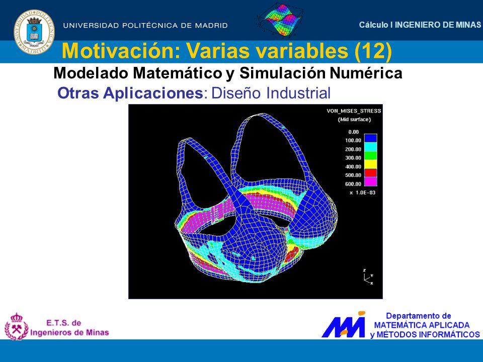 Cálculo I INGENIERO DE MINAS Motivación: Varias variables (12) Modelado Matemático y Simulación Numérica Otras Aplicaciones: Diseño Industrial