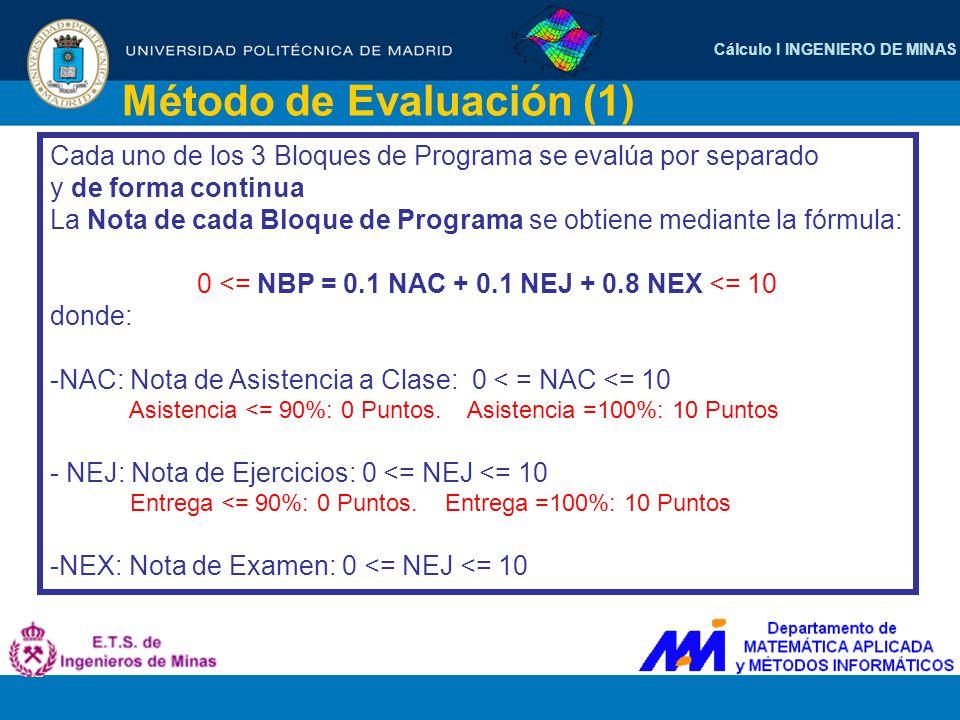 Cálculo I INGENIERO DE MINAS Método de Evaluación (2) Para aprobar la Asignatura es necesario y suficiente cumplir las dos condiciones siguientes: - Que la nota de cada Bloque de Programa no sea inferior a 4 puntos: NPB >= 4 para cada Bloque de Programa - Que la media ponderada de los Bloques de Programa no sea inferior a 5 puntos: MEDIA = (2/5)*NBP1 + (2/5)*NBP2 + (1/5)*NBP3 >= 5