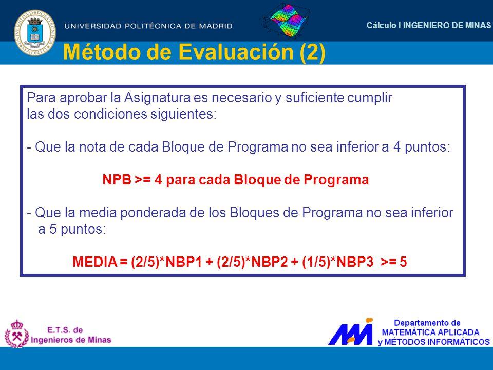 Cálculo I INGENIERO DE MINAS Método de Evaluación (2) Para aprobar la Asignatura es necesario y suficiente cumplir las dos condiciones siguientes: - Q