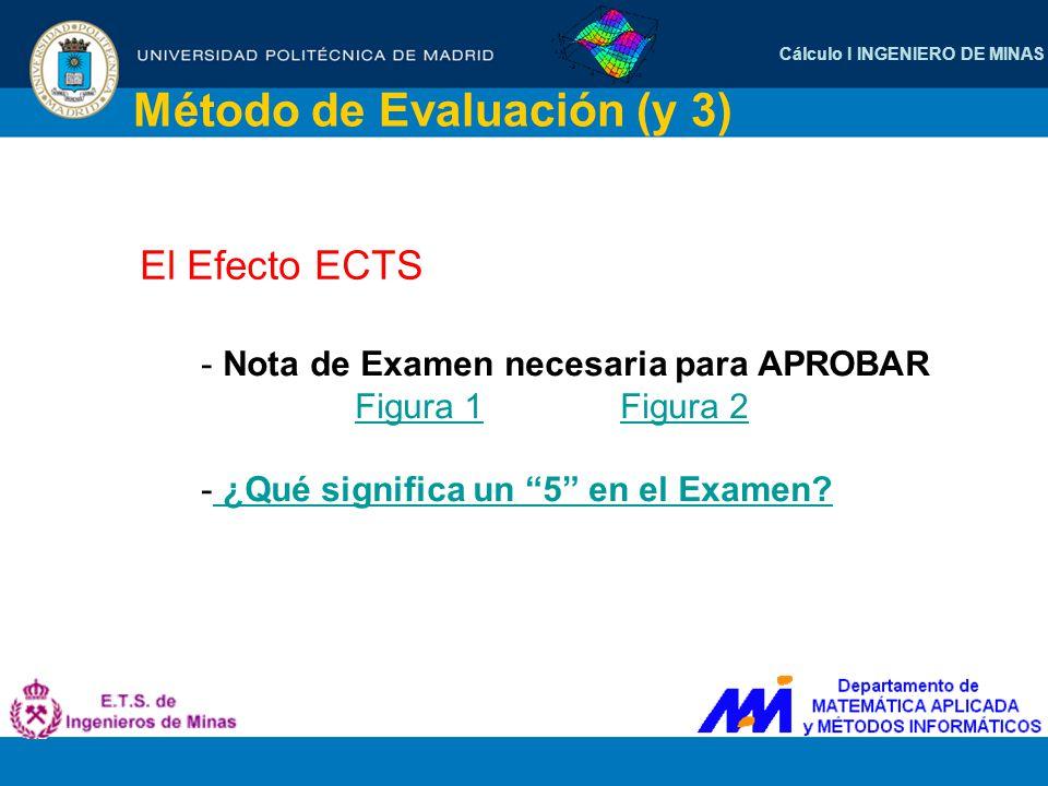 Cálculo I INGENIERO DE MINAS Método de Evaluación (y 3) El Efecto ECTS - Nota de Examen necesaria para APROBAR Figura 1Figura 2Figura 1Figura 2 - ¿Qué