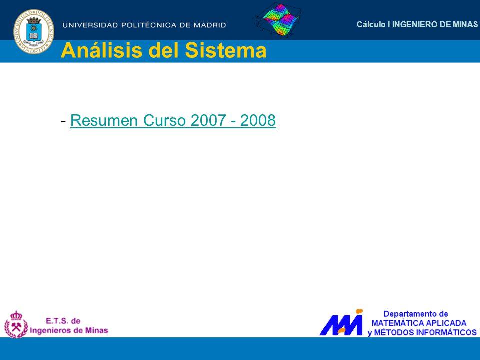 Cálculo I INGENIERO DE MINAS Análisis del Sistema - Resumen Curso 2007 - 2008Resumen Curso 2007 - 2008