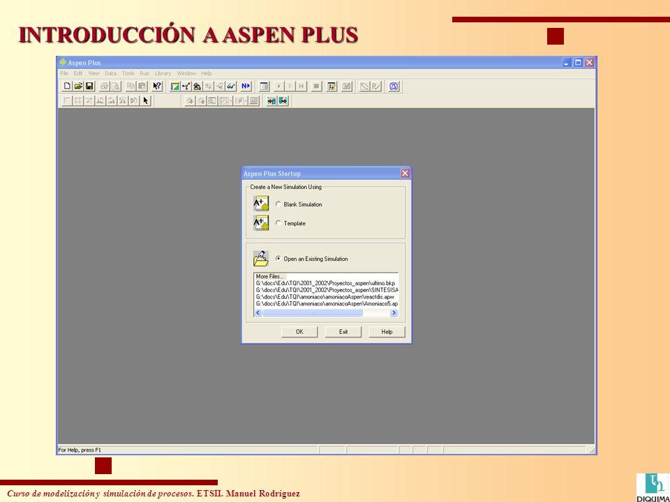 Curso de modelización y simulación de procesos. ETSII. Manuel Rodríguez INTRODUCCIÓN A ASPEN PLUS