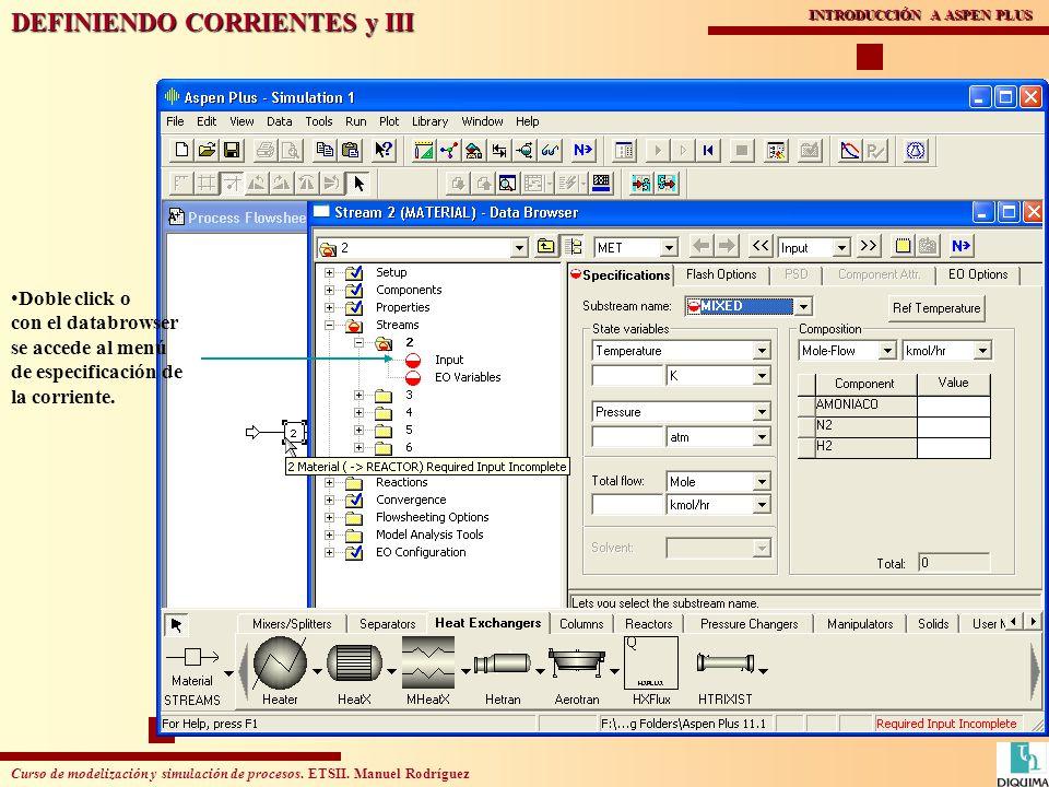 Curso de modelización y simulación de procesos. ETSII. Manuel Rodríguez INTRODUCCIÓN A ASPEN PLUS DEFINIENDO CORRIENTES y III Doble click o con el dat