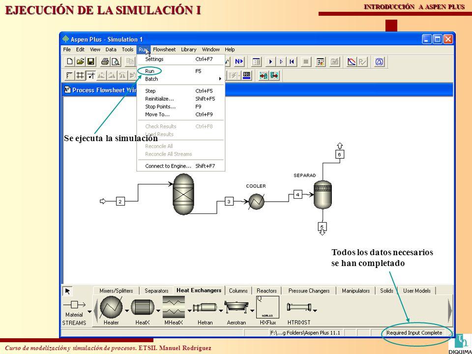 Curso de modelización y simulación de procesos. ETSII. Manuel Rodríguez INTRODUCCIÓN A ASPEN PLUS EJECUCIÓN DE LA SIMULACIÓN I Todos los datos necesar