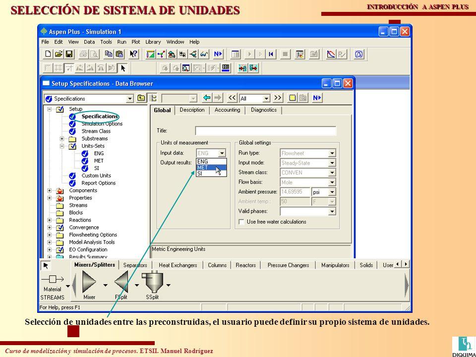 Curso de modelización y simulación de procesos. ETSII. Manuel Rodríguez INTRODUCCIÓN A ASPEN PLUS Selección de unidades entre las preconstruidas, el u