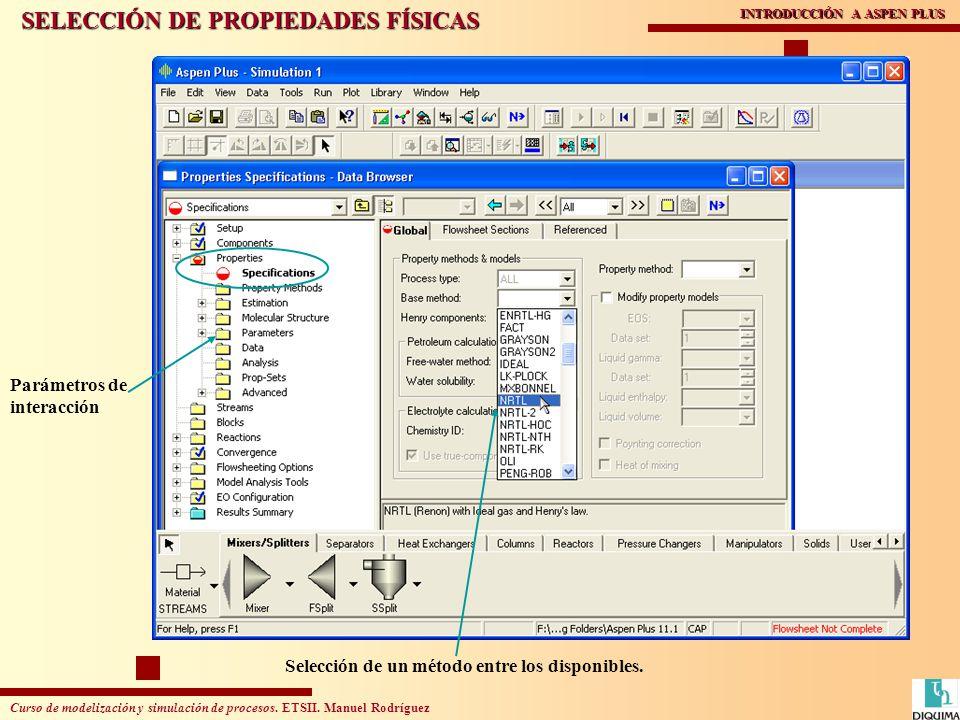 Curso de modelización y simulación de procesos. ETSII. Manuel Rodríguez INTRODUCCIÓN A ASPEN PLUS SELECCIÓN DE PROPIEDADES FÍSICAS Selección de un mét