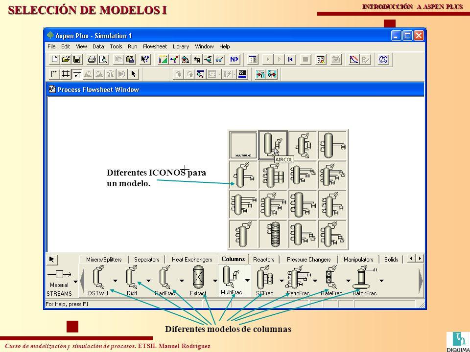 Curso de modelización y simulación de procesos. ETSII. Manuel Rodríguez INTRODUCCIÓN A ASPEN PLUS SELECCIÓN DE MODELOS I Diferentes modelos de columna