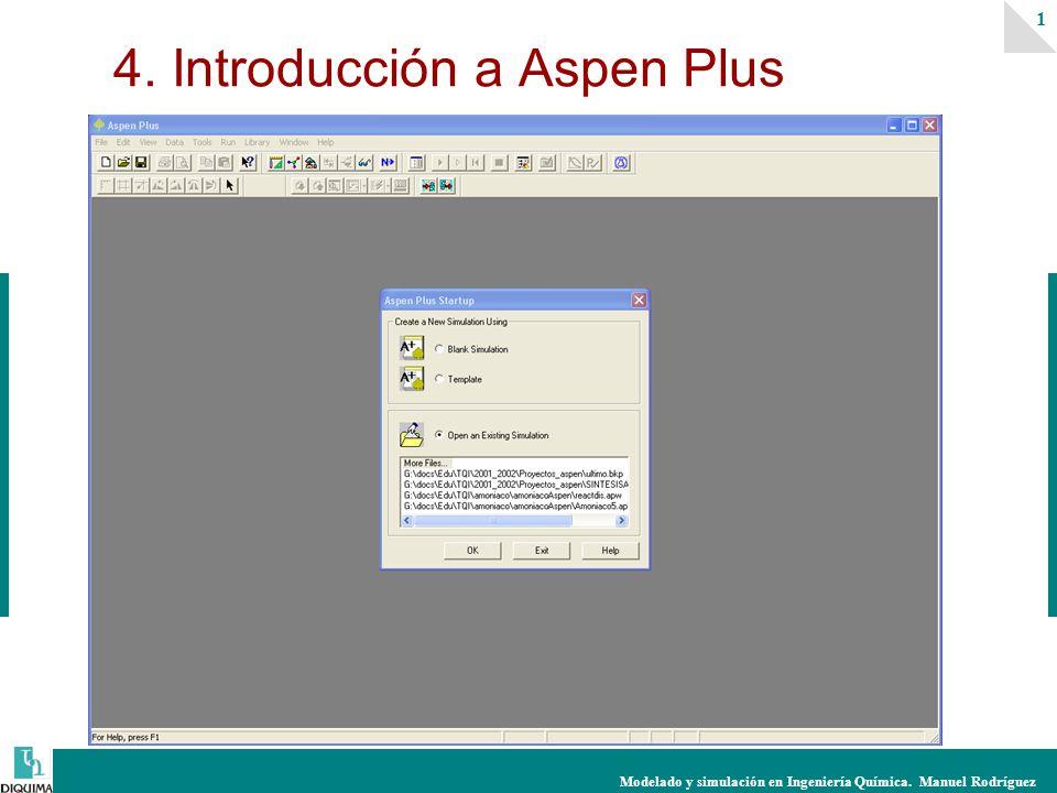 Modelado y simulación en Ingeniería Química. Manuel Rodríguez 1 4. Introducción a Aspen Plus