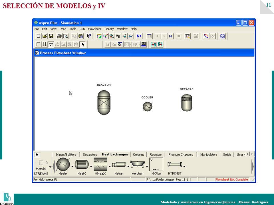 Modelado y simulación en Ingeniería Química. Manuel Rodríguez 11 SELECCIÓN DE MODELOS y IV