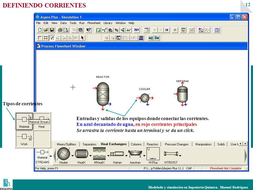 Modelado y simulación en Ingeniería Química. Manuel Rodríguez 12 DEFINIENDO CORRIENTES Tipos de corrientes Entradas y salidas de los equipos donde con