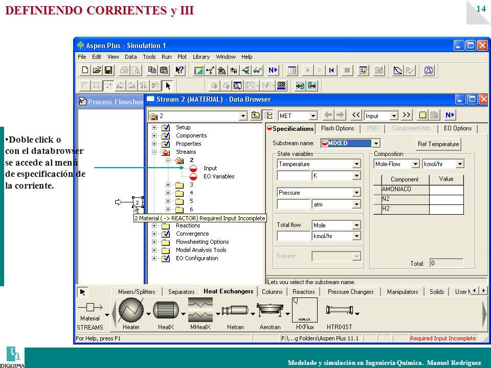 Modelado y simulación en Ingeniería Química. Manuel Rodríguez 14 DEFINIENDO CORRIENTES y III Doble click o con el databrowser se accede al menú de esp