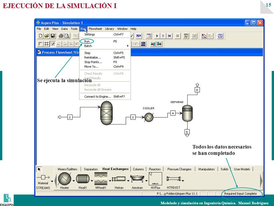Modelado y simulación en Ingeniería Química. Manuel Rodríguez 15 EJECUCIÓN DE LA SIMULACIÓN I Todos los datos necesarios se han completado Se ejecuta