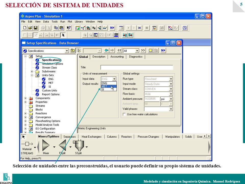 Modelado y simulación en Ingeniería Química. Manuel Rodríguez 5 Selección de unidades entre las preconstruidas, el usuario puede definir su propio sis