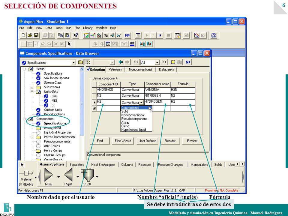 Modelado y simulación en Ingeniería Química. Manuel Rodríguez 6 SELECCIÓN DE COMPONENTES Nombre dado por el usuarioNombre oficial (inglés)Fórmula Se d