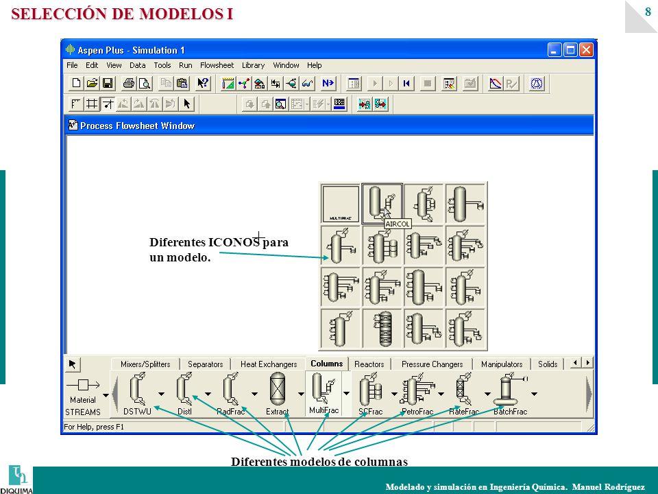 Modelado y simulación en Ingeniería Química. Manuel Rodríguez 8 SELECCIÓN DE MODELOS I Diferentes modelos de columnas Diferentes ICONOS para un modelo
