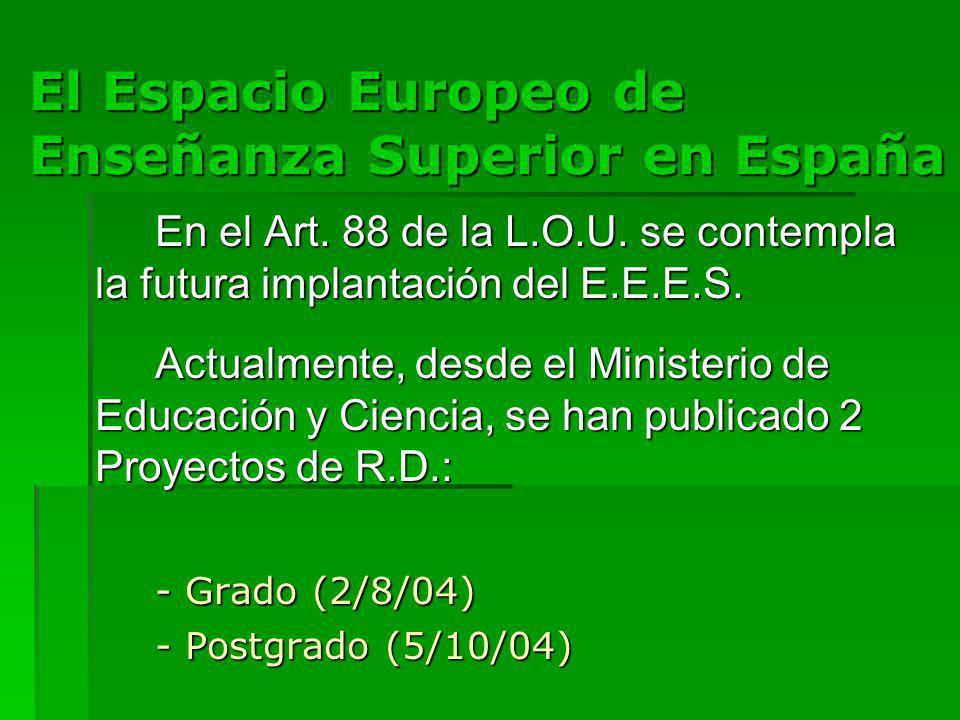 El Espacio Europeo de Enseñanza Superior en España En el Art.