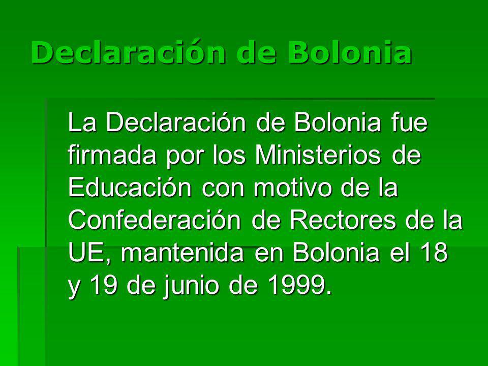 Declaración de Bolonia La Declaración de Bolonia fue firmada por los Ministerios de Educación con motivo de la Confederación de Rectores de la UE, mantenida en Bolonia el 18 y 19 de junio de 1999.