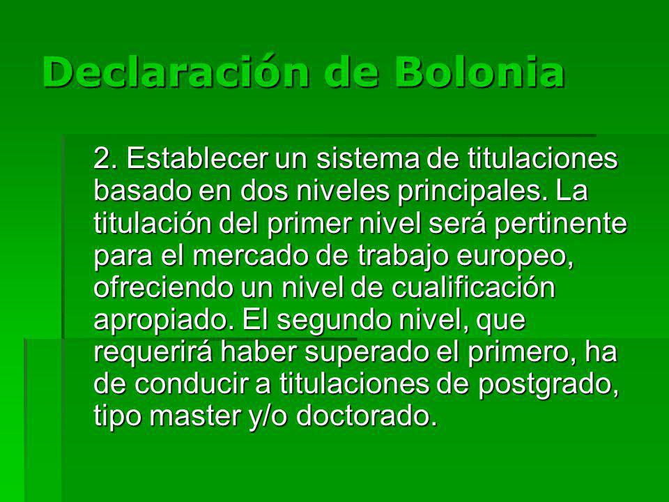 Declaración de Bolonia 2. Establecer un sistema de titulaciones basado en dos niveles principales.