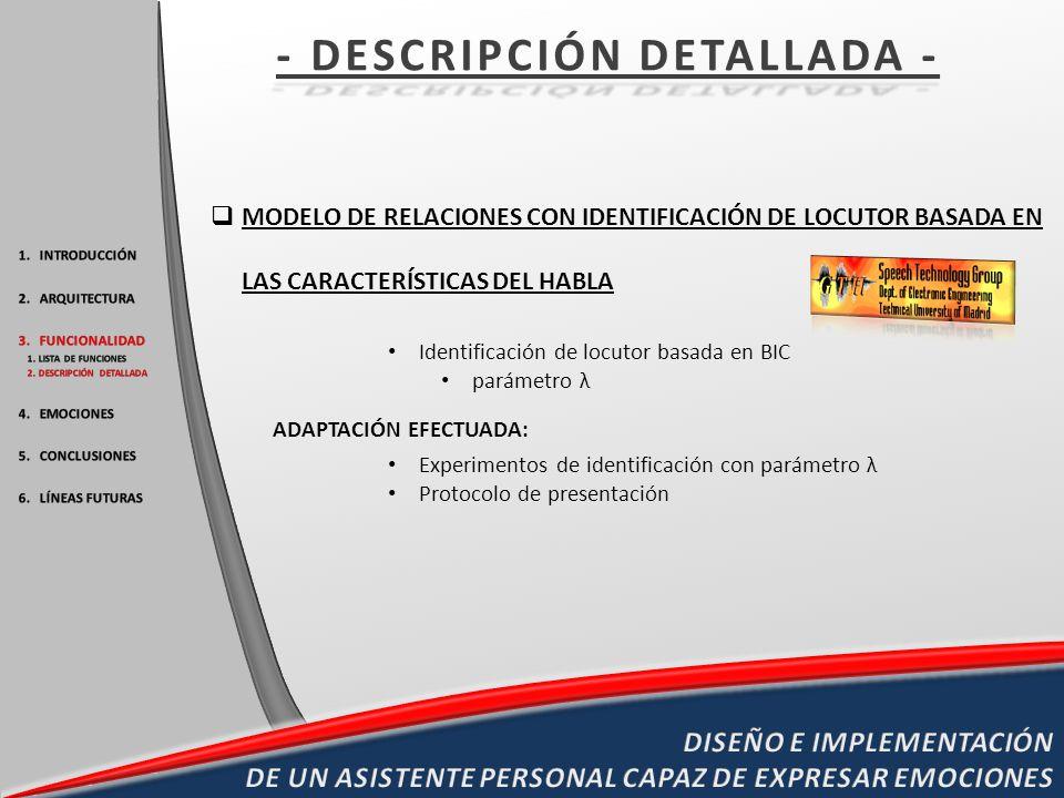 MODELO DE RELACIONES CON IDENTIFICACIÓN DE LOCUTOR BASADA EN LAS CARACTERÍSTICAS DEL HABLA Identificación de locutor basada en BIC parámetro λ ADAPTAC