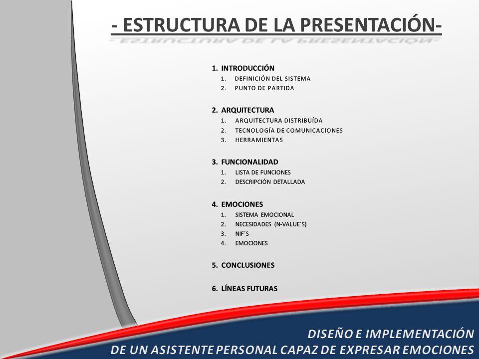 1.ES CAPAZ DE SIMULAR ESTADOS EMOCIONALES Y EXPRESARLOS 2.SISTEMA EMOCIONAL JERARQUIZADO BASADO EN MASLOW QUE IMPLEMENTA UNA ARQUITECTURA DE SUBSUNCIÓN DE BROOKS 3.ARQUITECTURA DISTRIBUÍDA MULTITAREA ESCALABLE 4.INTEGRACIÓN DE IDENTIFICADOR DE LOCUTOR Y CREACIÓN DE MECANISMO DE PRESENTACIÓN 5.INTEGRACIÓN DE SINTETIZADOR BASADO EN HMM CON FRASES DETERMINADAS POR CONCEPTOS Y ALEATORIEDAD 6.INTEGRACIÓN DE TECNOLOGÍAS: CONTROL X10 CONTROL INFRARROJOS BRAZO ROBÓTICO CARA ROBÓTICA CONTROL BLUETOOTH ROOMBA FOTOSENSOR PARA CARICIAS ARQUITECTURA C/S COMUNICACIÓN CON SOAP