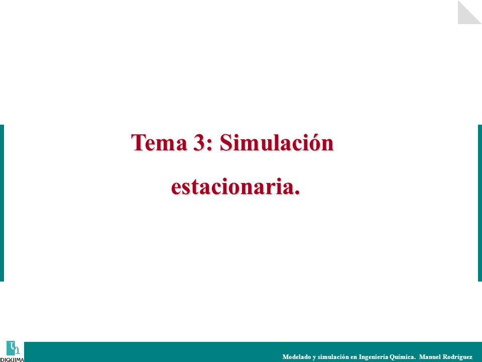 Modelado y simulación en Ingeniería Química. Manuel Rodríguez Tema 3: Simulación estacionaria.