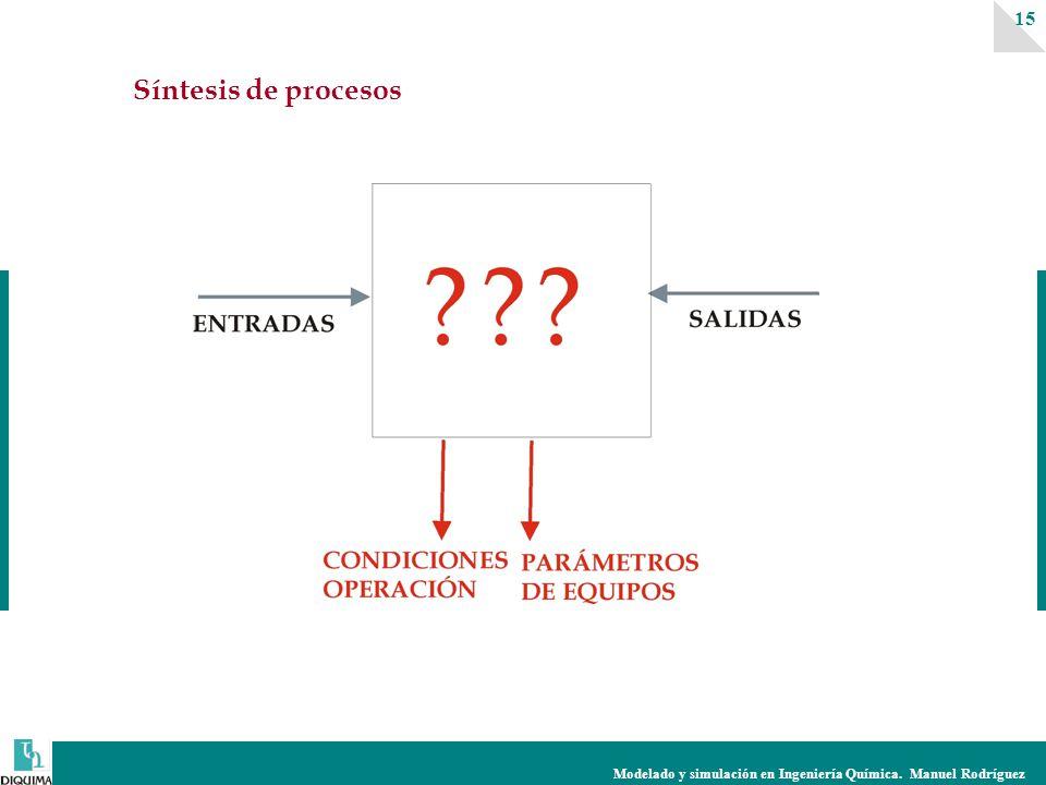 Modelado y simulación en Ingeniería Química. Manuel Rodríguez 15 Síntesis de procesos