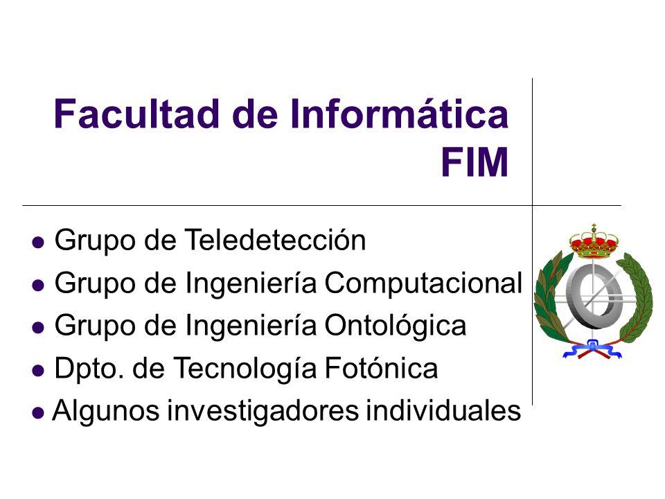 Facultad de Informática FIM Grupo de Teledetección Grupo de Ingeniería Computacional Grupo de Ingeniería Ontológica Dpto.