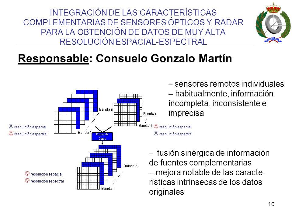 10 INTEGRACIÓN DE LAS CARACTERÍSTICAS COMPLEMENTARIAS DE SENSORES ÓPTICOS Y RADAR PARA LA OBTENCIÓN DE DATOS DE MUY ALTA RESOLUCIÓN ESPACIAL-ESPECTRAL resolución espacial resolución espectral resolución espacial resolución espectral resolución espacial resolución espectral – sensores remotos individuales – habitualmente, información incompleta, inconsistente e imprecisa – fusión sinérgica de información de fuentes complementarias – mejora notable de las caracte- rísticas intrínsecas de los datos originales Responsable: Consuelo Gonzalo Martín