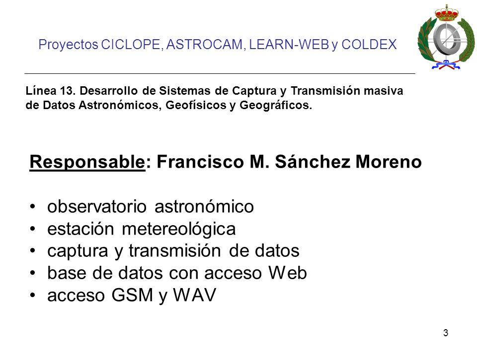 3 Proyectos CICLOPE, ASTROCAM, LEARN-WEB y COLDEX Línea 13.