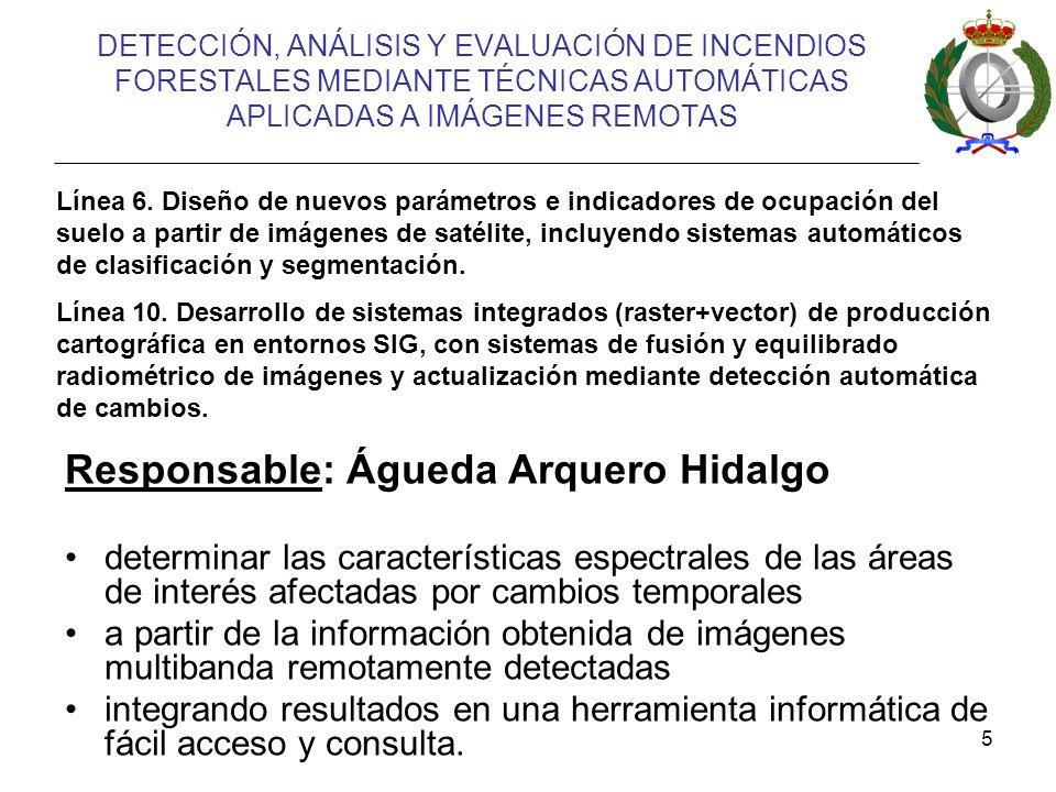 5 DETECCIÓN, ANÁLISIS Y EVALUACIÓN DE INCENDIOS FORESTALES MEDIANTE TÉCNICAS AUTOMÁTICAS APLICADAS A IMÁGENES REMOTAS Línea 6.
