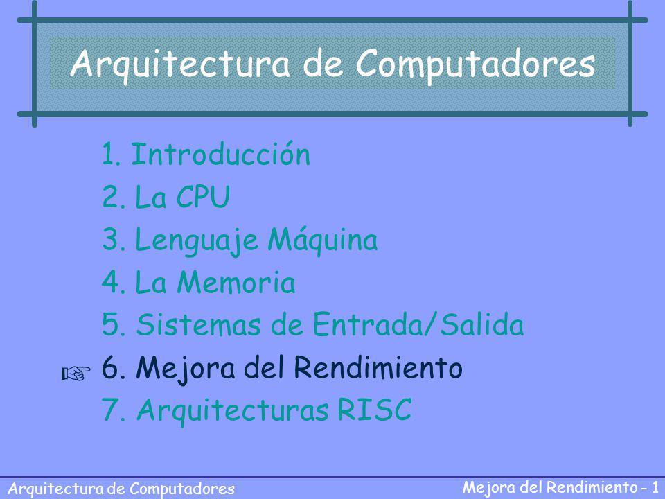 Arquitectura de Computadores Mejora del Rendimiento - 1 Arquitectura de Computadores 1. Introducción 2. La CPU 3. Lenguaje Máquina 4. La Memoria 5. Si