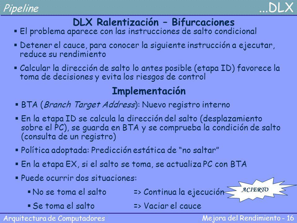Mejora del Rendimiento - 16 Arquitectura de Computadores Pipeline...DLX DLX Ralentización – Bifurcaciones El problema aparece con las instrucciones de