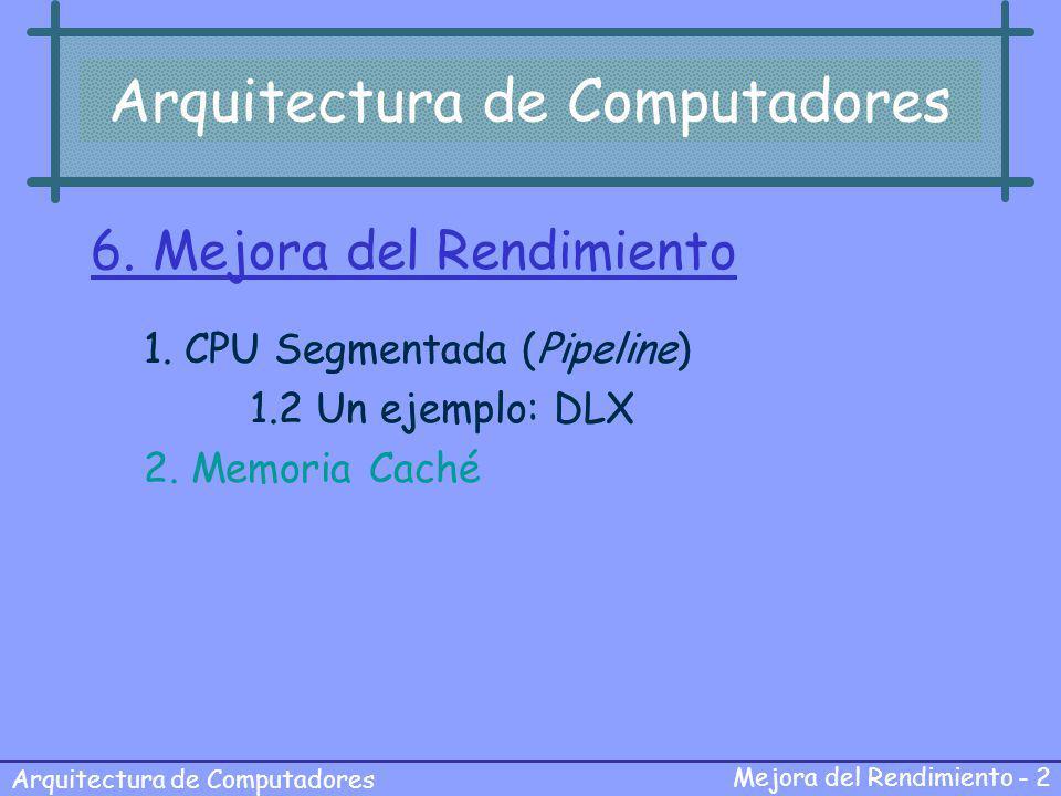 Arquitectura de Computadores Mejora del Rendimiento - 2 Arquitectura de Computadores 6. Mejora del Rendimiento 1. CPU Segmentada (Pipeline) 1.2 Un eje