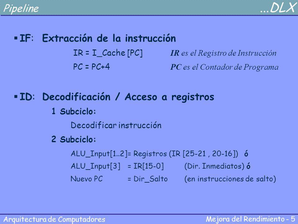 Mejora del Rendimiento - 5 Arquitectura de Computadores Pipeline...DLX IF:Extracción de la instrucción IR = I_Cache [PC] IR es el Registro de Instrucc