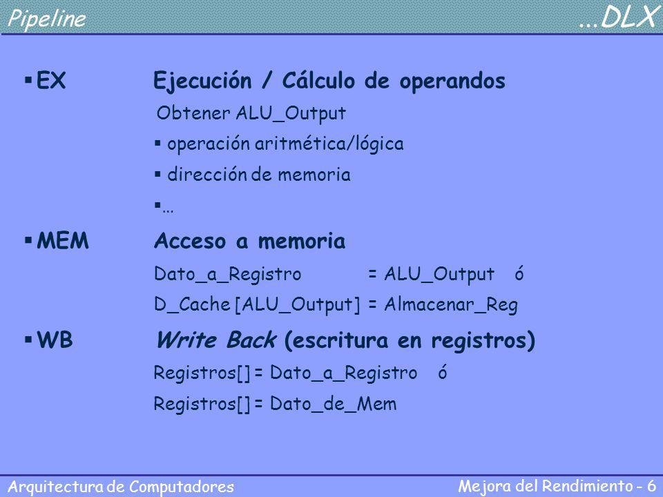 Mejora del Rendimiento - 6 Arquitectura de Computadores Pipeline...DLX EXEjecución / Cálculo de operandos Obtener ALU_Output operación aritmética/lógi
