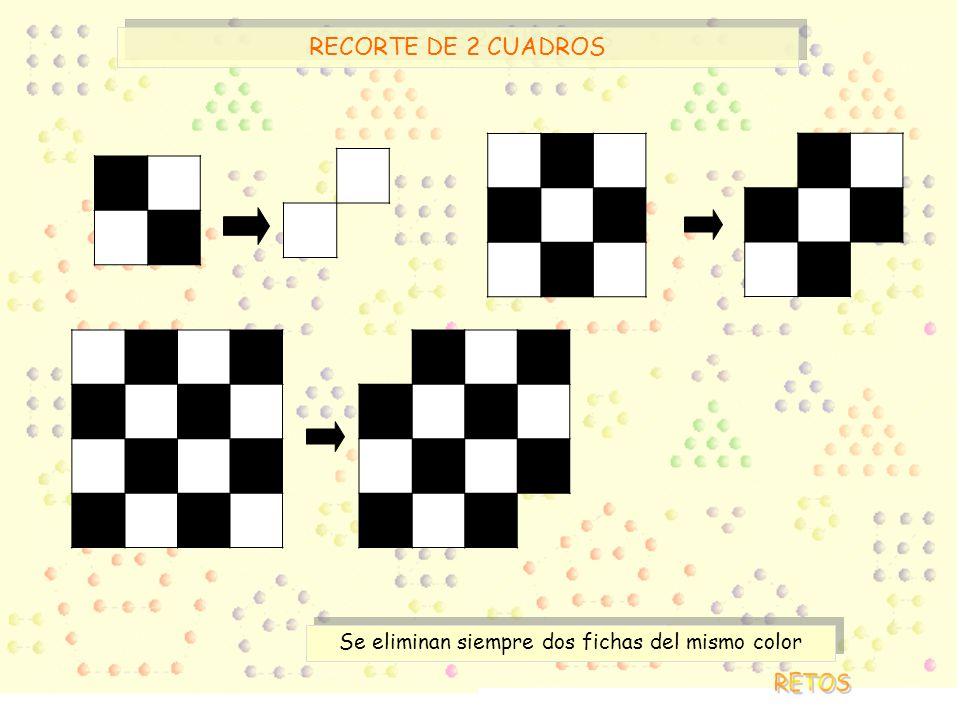 RECORTE DE 2 CUADROS Se eliminan siempre dos fichas del mismo color