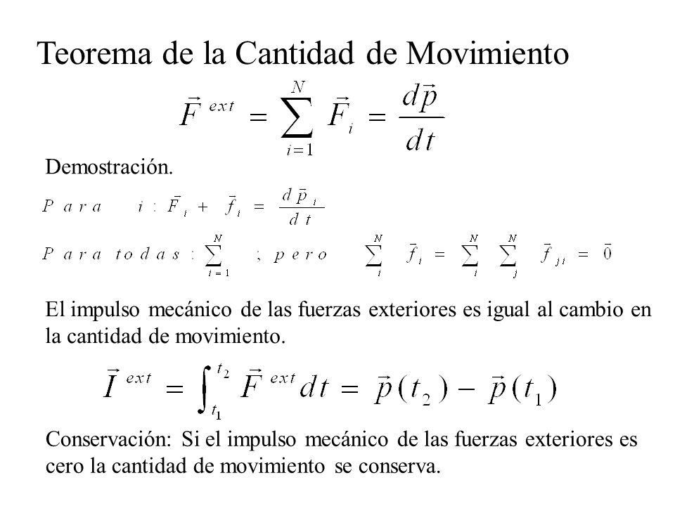 El impulso mecánico de las fuerzas exteriores es igual al cambio en la cantidad de movimiento. Teorema de la Cantidad de Movimiento Demostración. Cons