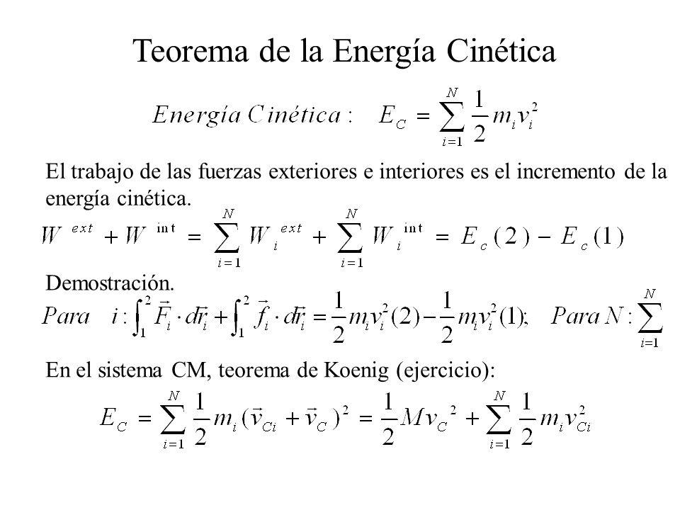 El trabajo de las fuerzas exteriores e interiores es el incremento de la energía cinética. Teorema de la Energía Cinética Demostración. En el sistema