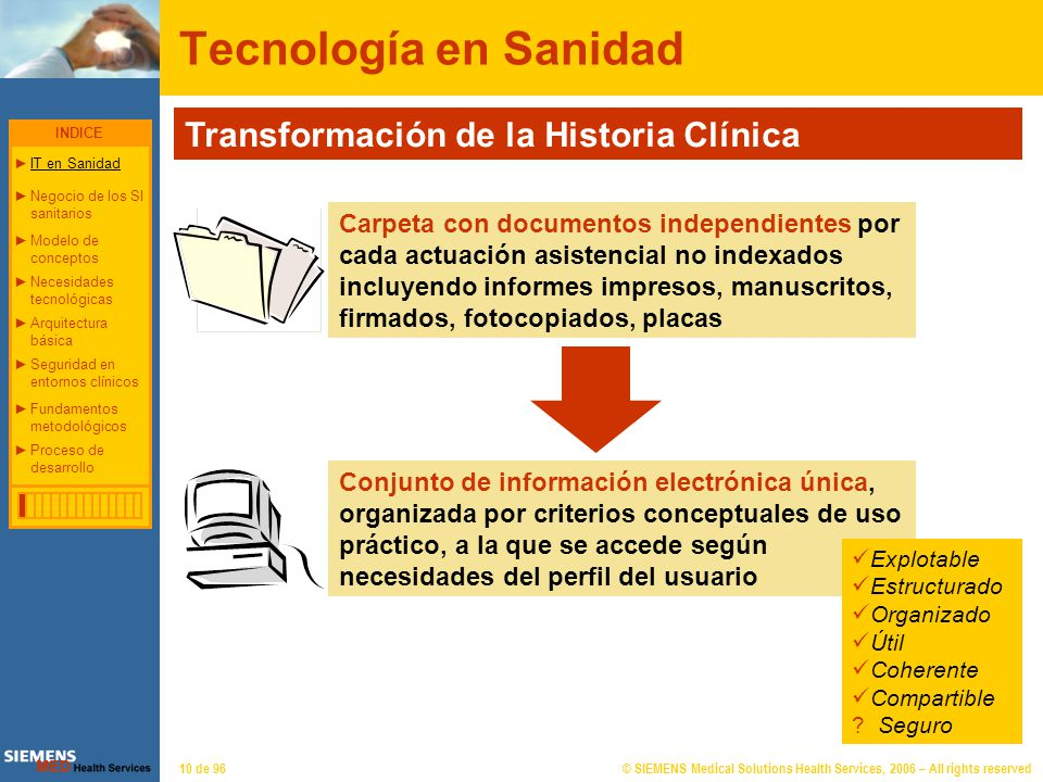 © SIEMENS Medical Solutions Health Services, 2006 – All rights reserved10 de 96 Tecnología en Sanidad Transformación de la Historia Clínica Carpeta co
