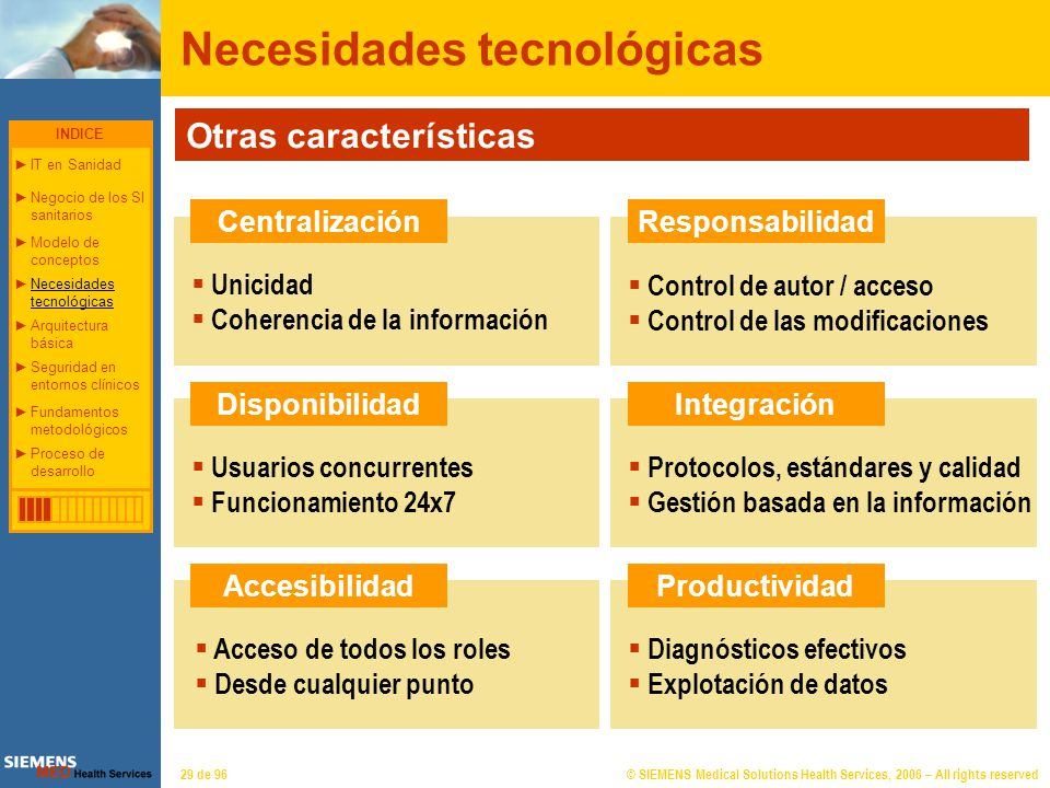 © SIEMENS Medical Solutions Health Services, 2006 – All rights reserved29 de 96 Necesidades tecnológicas Otras características Centralización Disponib