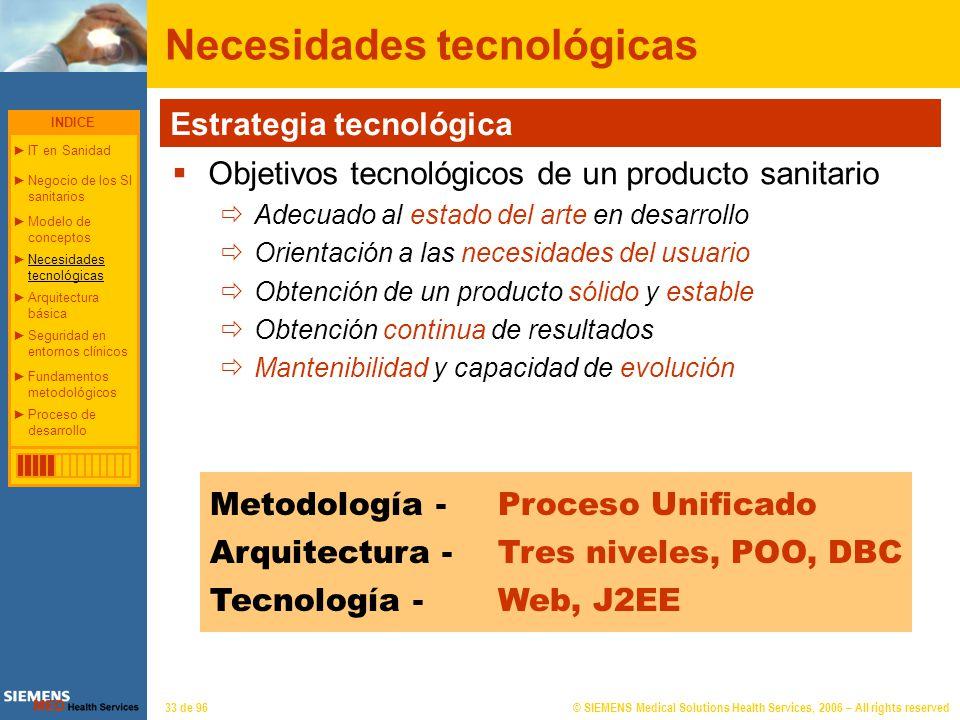 © SIEMENS Medical Solutions Health Services, 2006 – All rights reserved33 de 96 Necesidades tecnológicas Metodología - Proceso Unificado Arquitectura