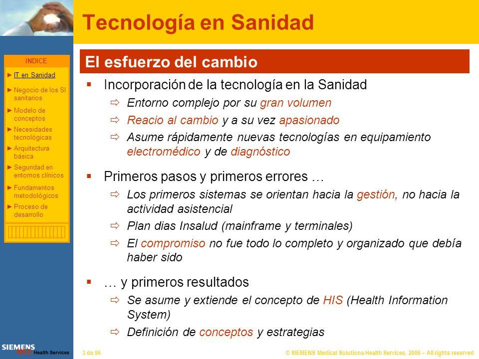 © SIEMENS Medical Solutions Health Services, 2006 – All rights reserved24 de 96 Necesidades tecnológicas en el entorno sanitario