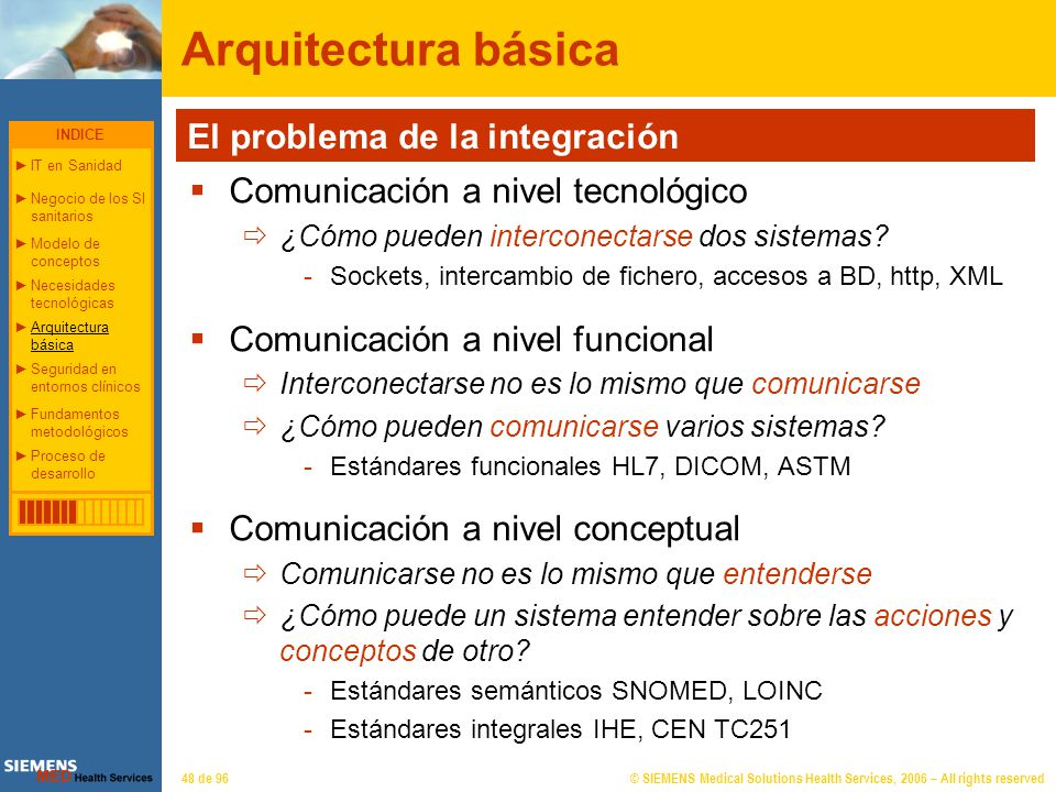 © SIEMENS Medical Solutions Health Services, 2006 – All rights reserved48 de 96 Arquitectura básica El problema de la integración Comunicación a nivel