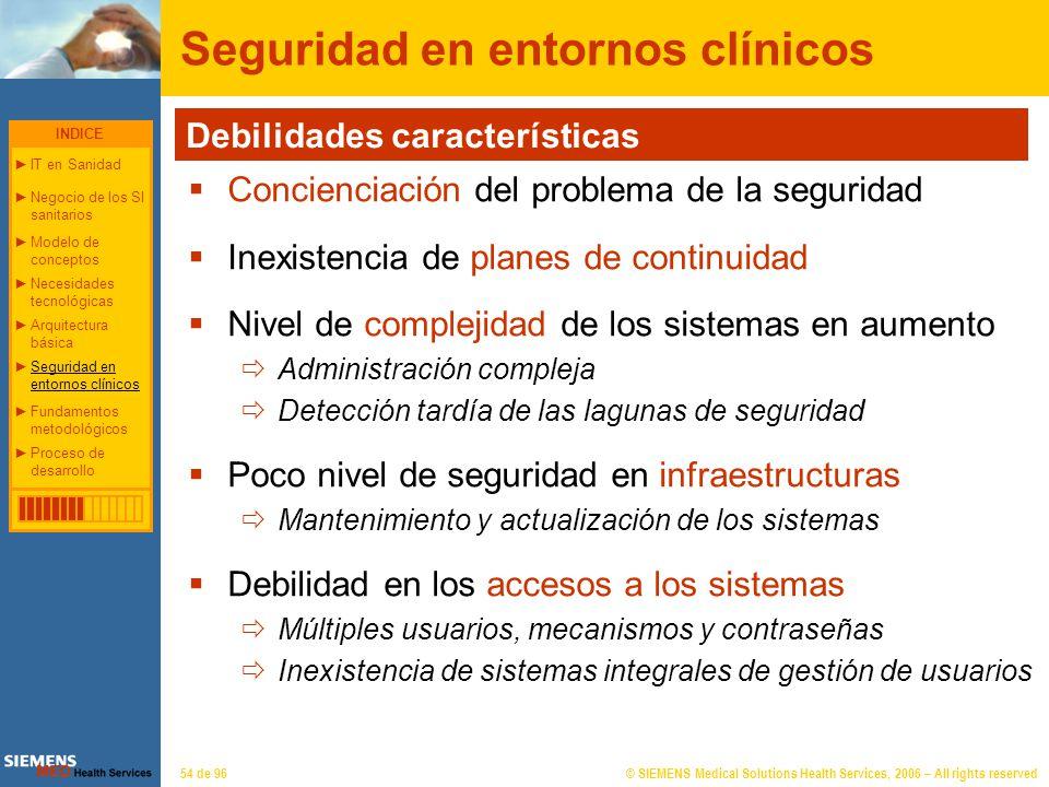 © SIEMENS Medical Solutions Health Services, 2006 – All rights reserved54 de 96 Seguridad en entornos clínicos Debilidades características Concienciac